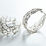 Silver Lace Hoop Earrings by Ann Chikahisa